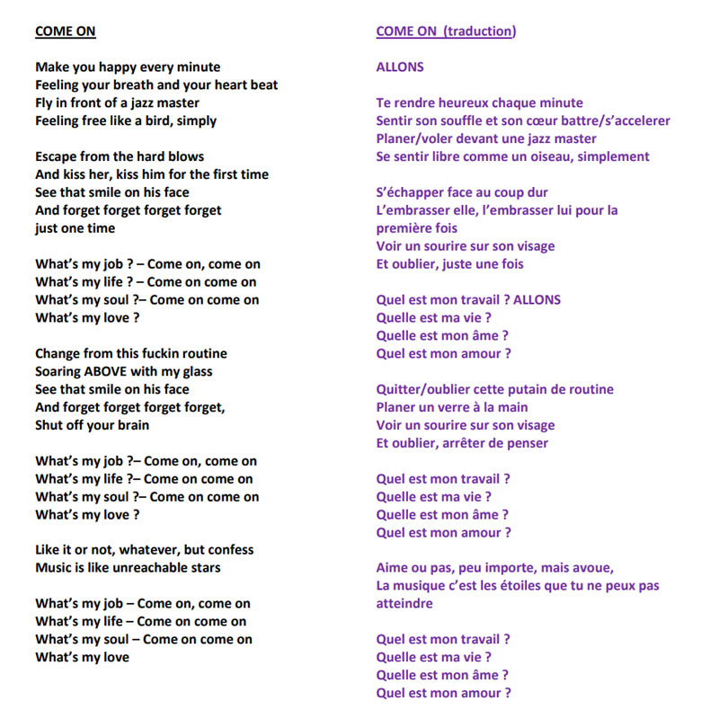 COME ON - Lyrics and Translation