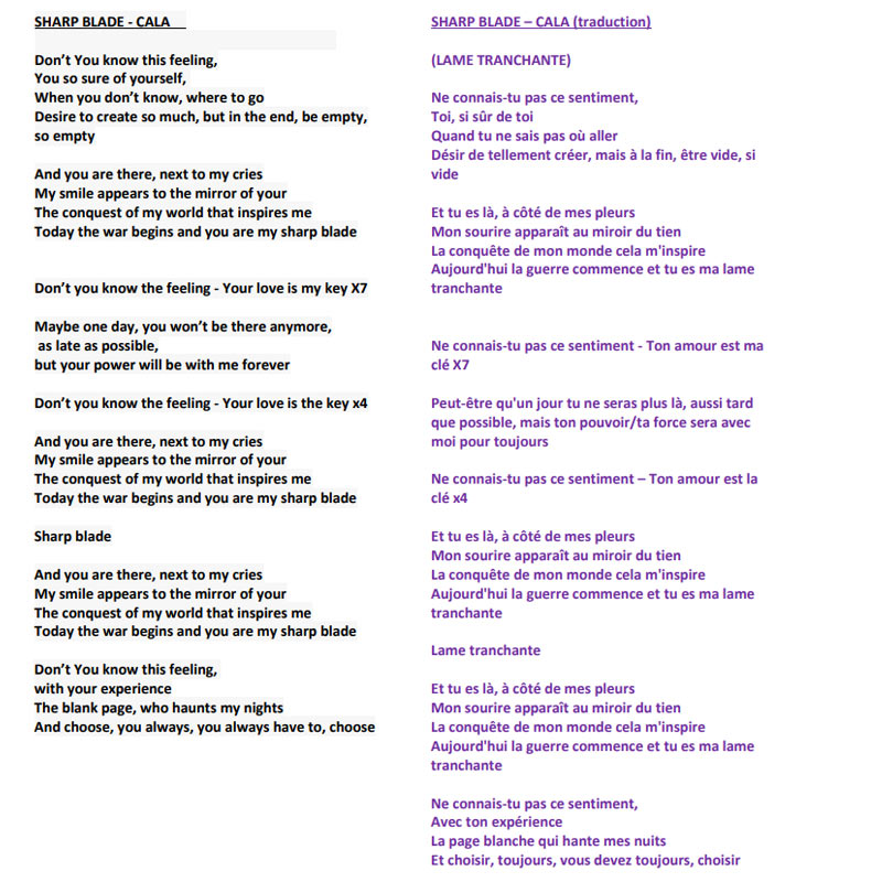 SHARP BLADE - Lyrics and Translation