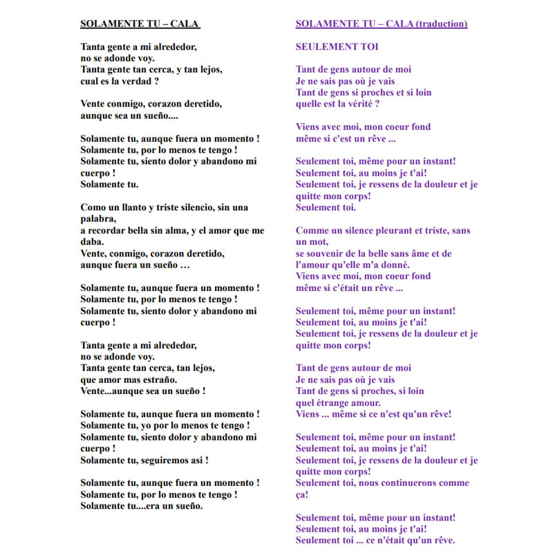 SOLAMENTE TU - Lyrics and Translation